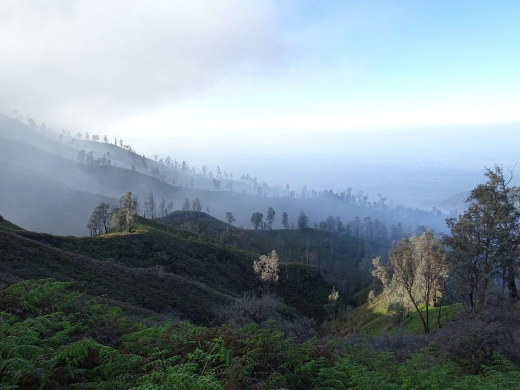 Misty morning landscapes at Kawah Ijen