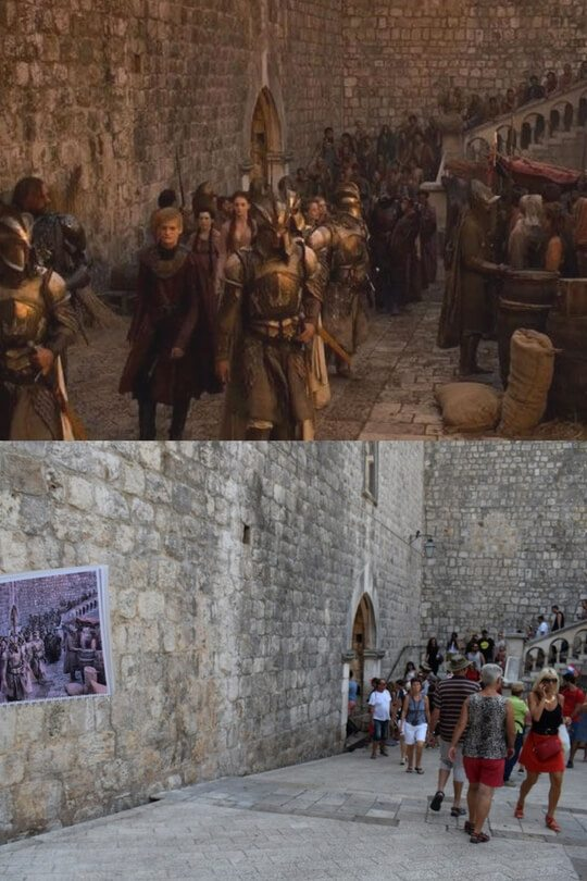 The riot scene in Episode X, Season X above, the entry to the Old Town of Dubrovnik below