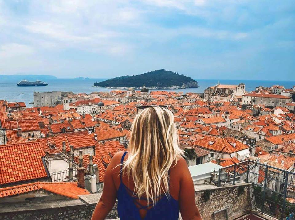 View over the rooftops of Dubrovnik from the Old Town walls