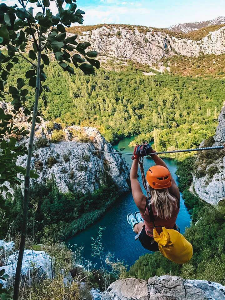 Zip-lining over the Cetina Canyon