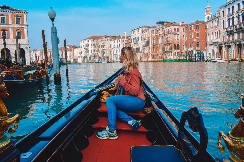 Admiring the view from our gondola boat tour while cruising the Grand Canal