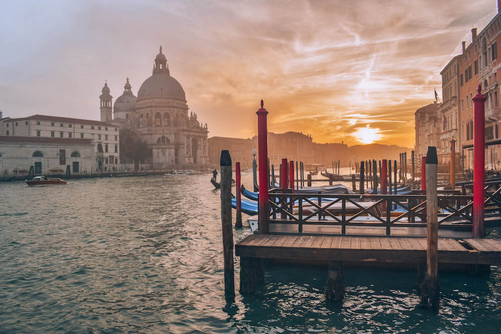 The best sunset spot in Venice, Italy, just across from the Basilica di Santa Maria della Salute