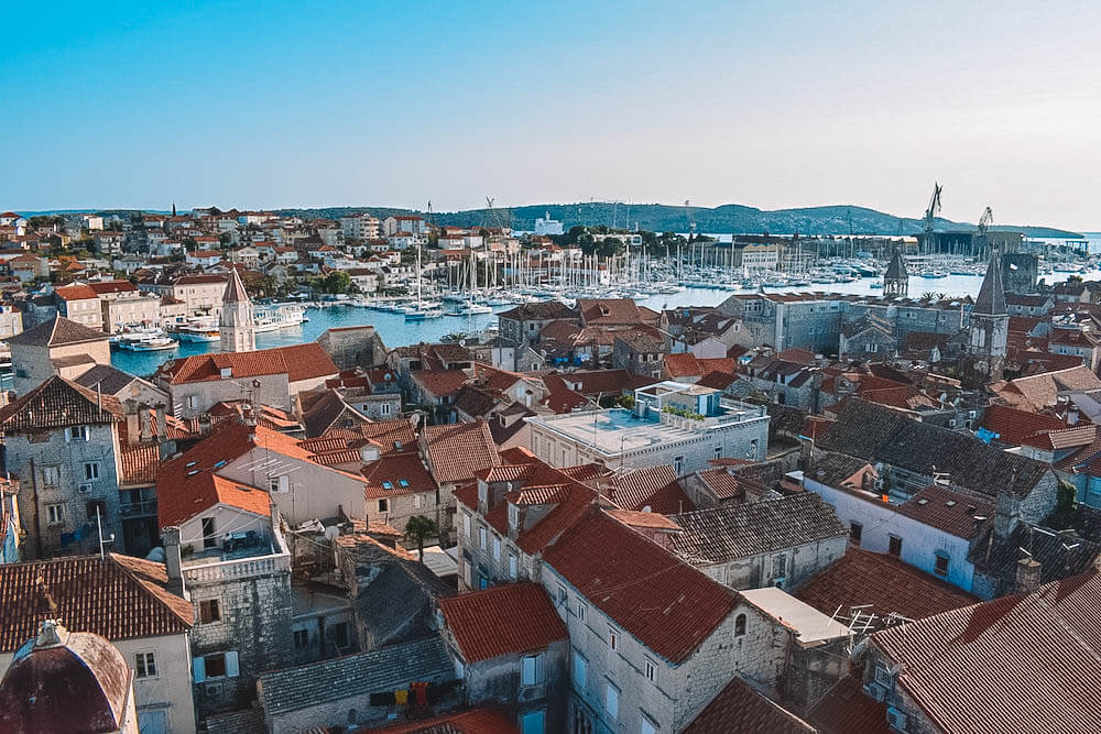 View over the rooftops of Trogir from the bell tower of the cathedral