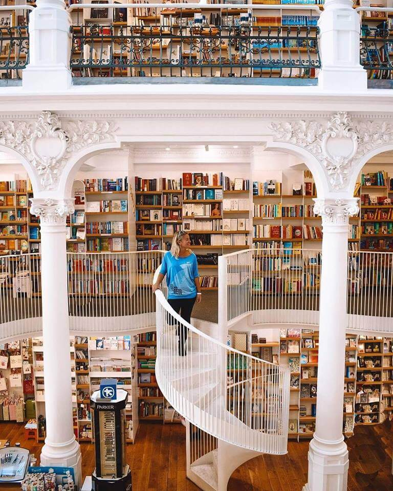 The inside of the Carousel of Light bookstore in Bucharest, Romania