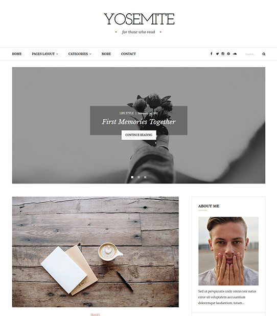 Yosemite - Clean, Minimal WordPress Blog Theme For Personal Bloggers