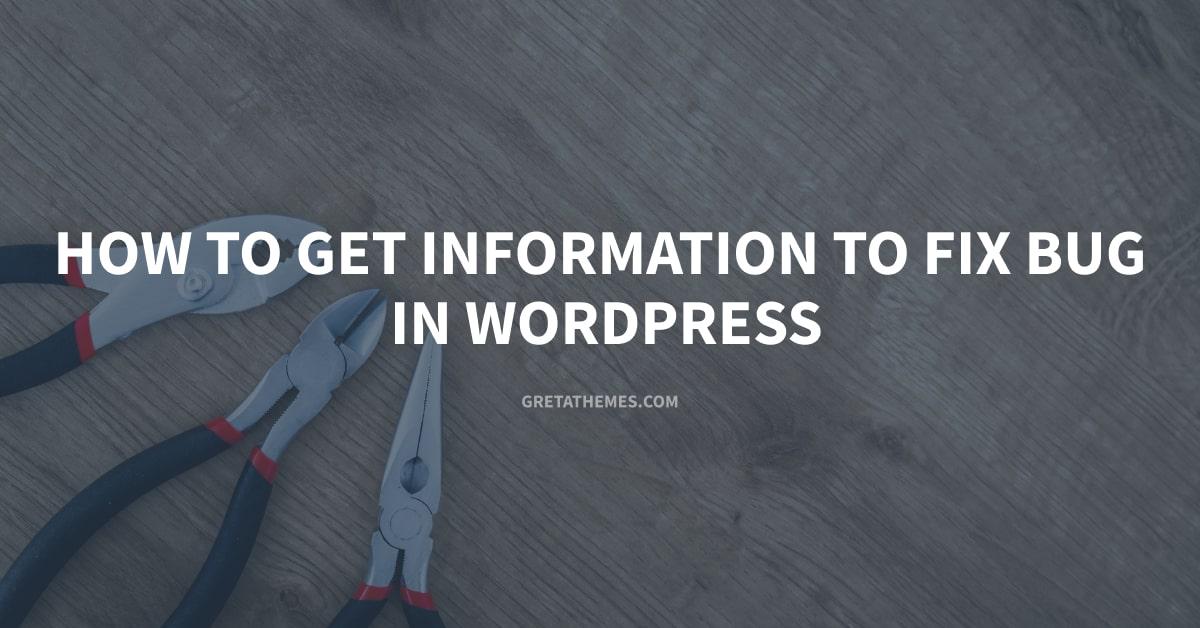 Get Information to Fix Bug in WordPress