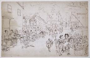sketch of a market scene in Batavia