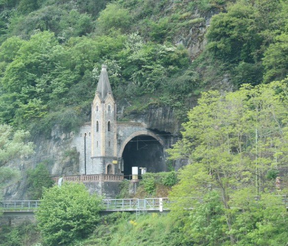 A railway tunnel disguised as a castle