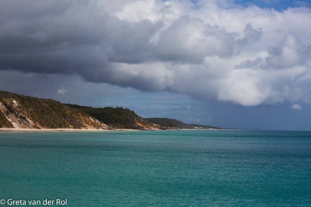 Raser Island gets rain something like 300 days a year - this is one of those days. We're in Platypus Bay