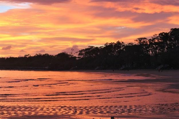 A red dawn at the beach