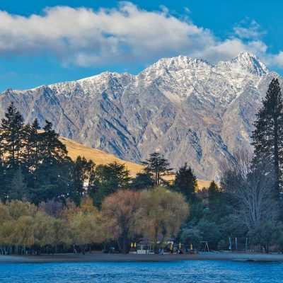 The mountains from the wharf, Queenstown