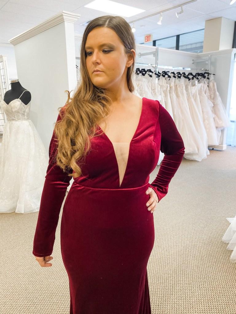 velvet fall bridesmaids gown