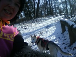 my sad attempt at running selfie with dog in background