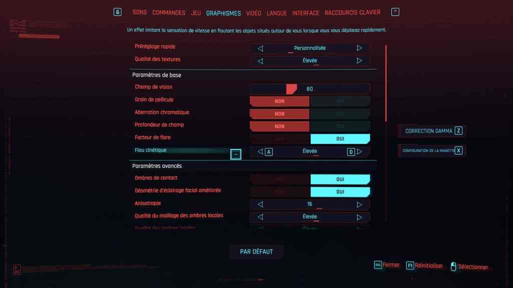 cyberpunk 2077 onglet graphisme