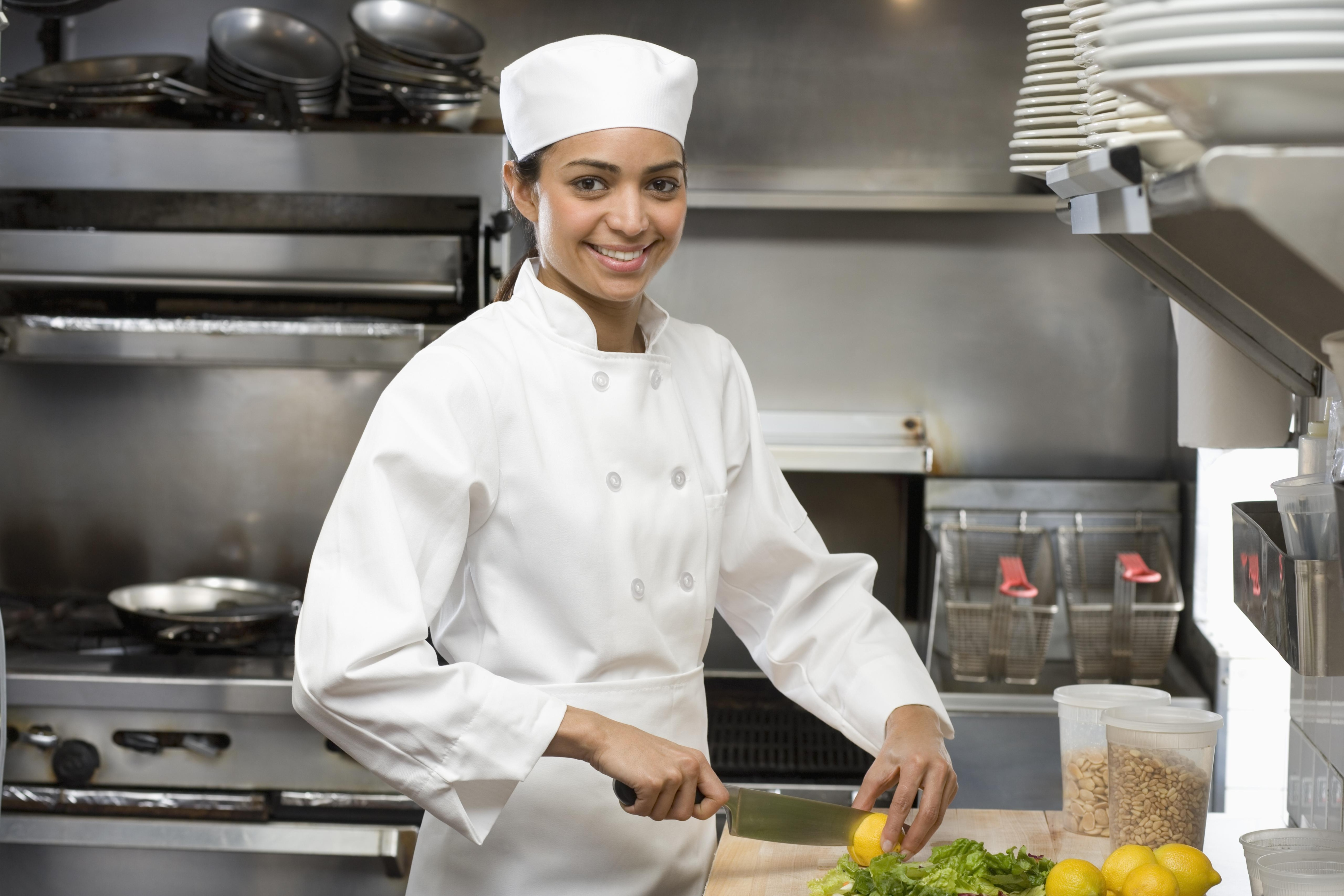 kitchen chief unique items female chef in restaurant grewal levy marketing news waist length