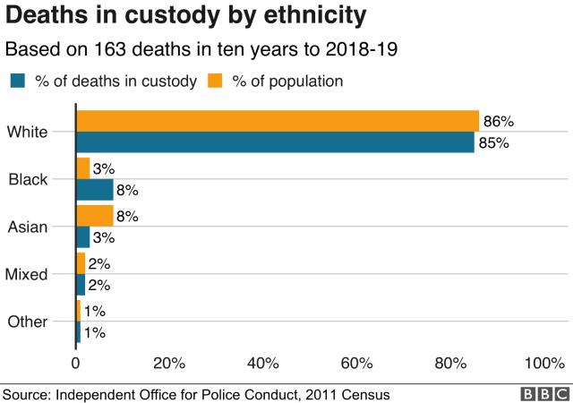 Chart showing deaths in custody