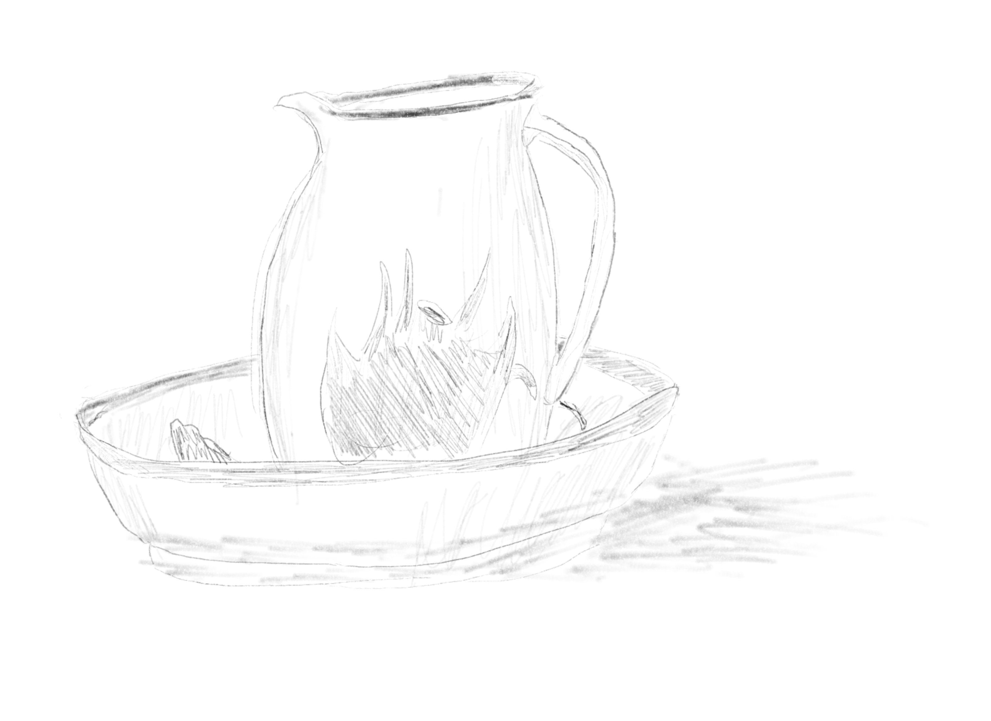 Sketch of a pitcher in a matching bowl.
