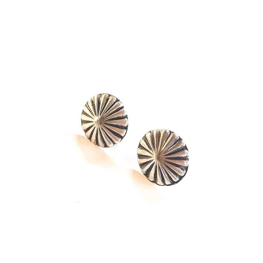 Small Round Sterling Silver Navajo Concho Earrings By Vincent Platero