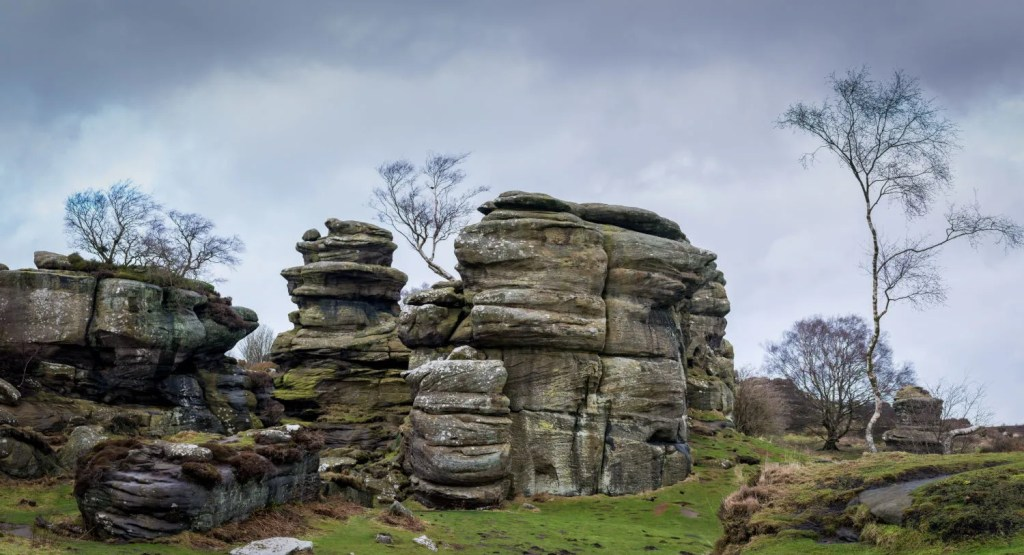 Grit rock outcrop at historical Brimham rocks in Yorkshire