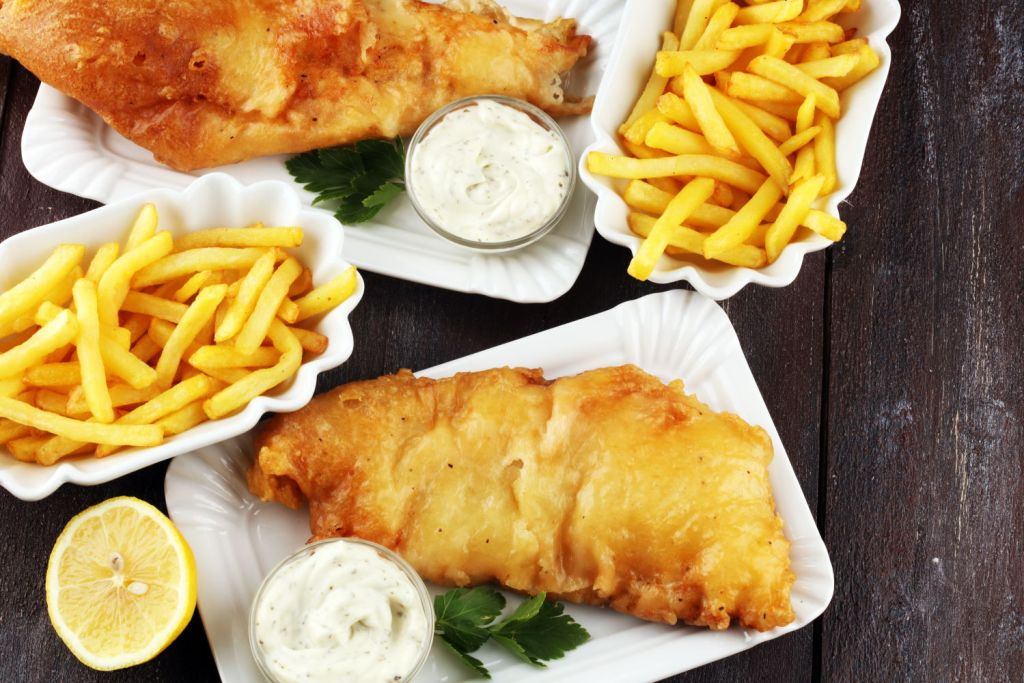 Typical British food - fish and chips takeout