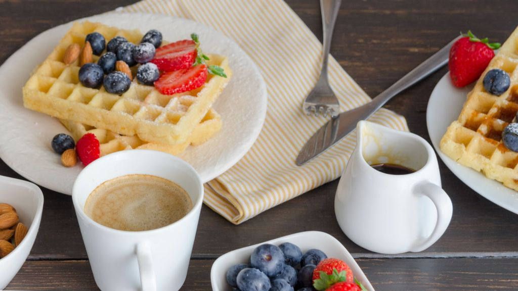 Sunday brunch with coffee, waffles and fresh fruit. One of the things I missed during lockdown