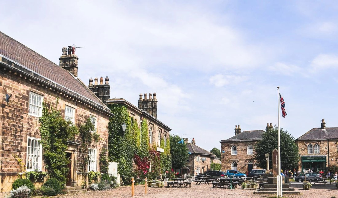 Cobbled village square Ripley Village, Yorkshire, with ancient cross and stocks