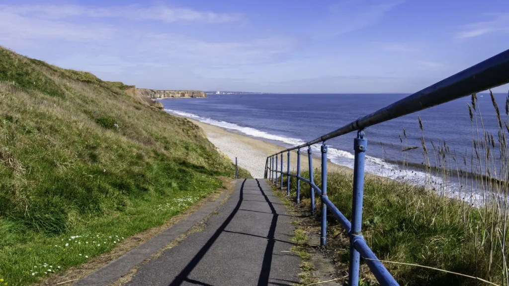 The steep and exposed path down to the famous Seaham sea glass beach