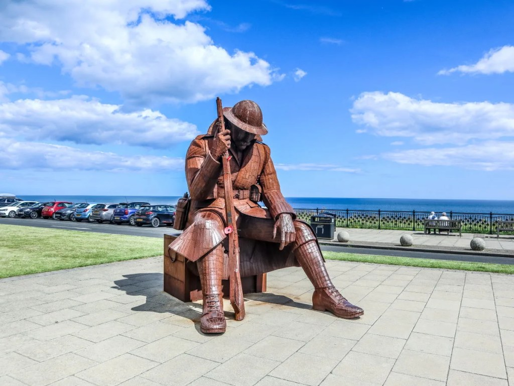 Massive steel sculpture Eleven 0 One overlooking the war memorial at Seaham, on the Durham Heritage Coast
