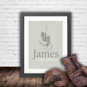 Personalised vintage boxing gloves in pastel colours