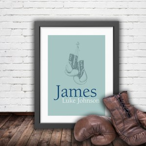 Personalised vintage boxing gloves in pastel green