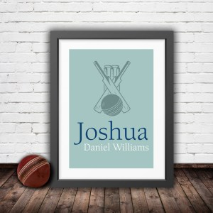 Personalised vintage cricket bat and ball in a pastel green