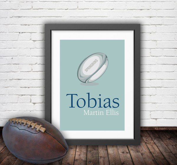 Personalised vintage rugby ball in a pastel green