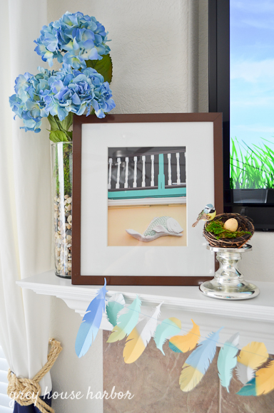 spring mantel decor ideas  |  greyhouseharbor.com