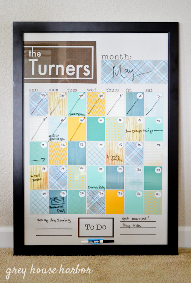 diy : dry erase family calendar | Grey House Harbor