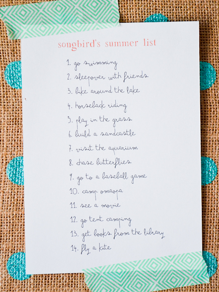 songbird's summer list  |  greyhouseharbor.com