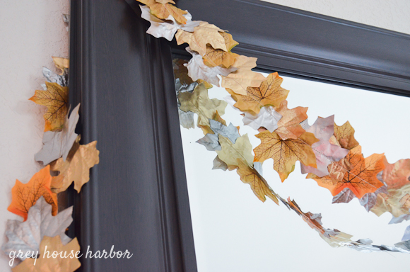 dollar store DIY fall leaf garland  |  greyhouseharbor.com