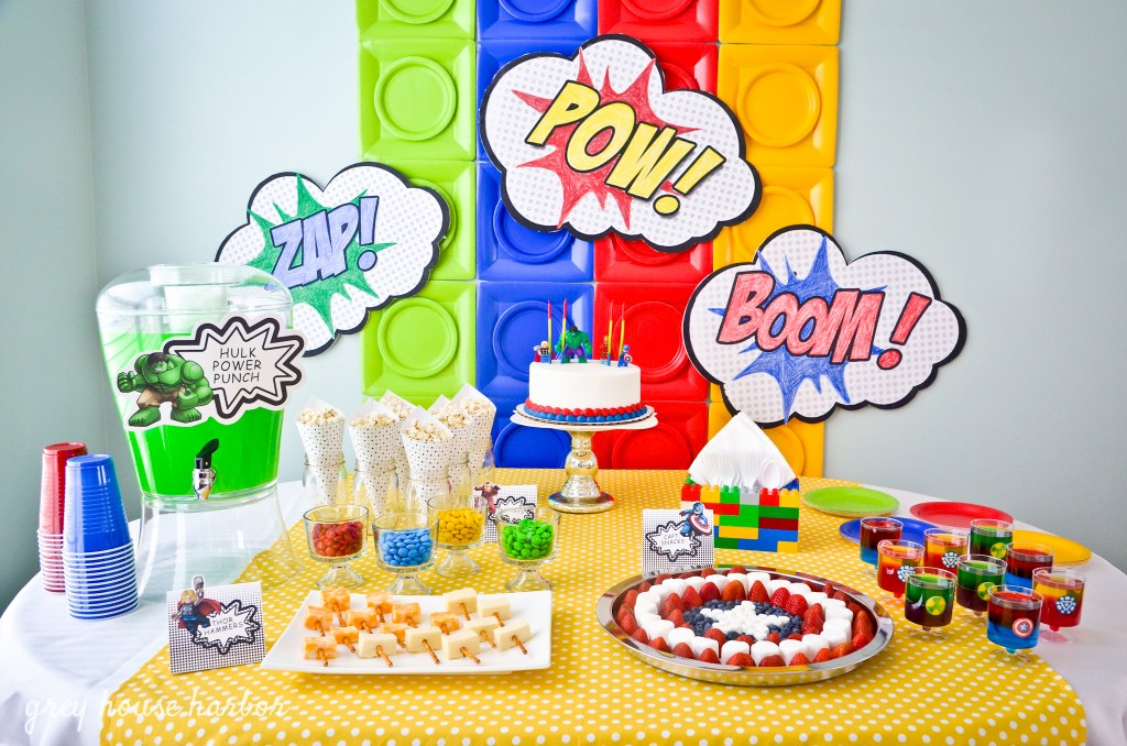lego superhero birthday party | Grey House Harbor