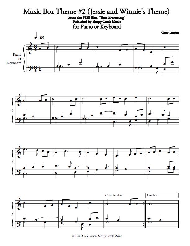 Tuck Everlasting Music Box Theme #2, Sheet Music for Piano