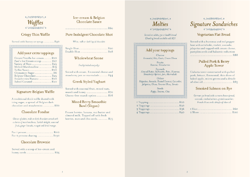 A typical page spread of the Melt menu