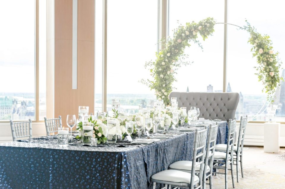 Floral Wedding Circle Hoop - Overlooking City - Downtown View - Best View of Downtown- Wedding Floral Decorations - Grey Loft Studio - Venue 22 - Ottawa Wedding Photographer - Wedding Videographer Ottawa - Photo Studio Ottawa wedding with a view - venue 22 - View of Parliament Hill Downtown - Wedecor