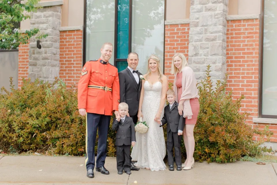 Family Formals after the Ceremony - Holy Spirit Catholic Church Stittsville - Bride with Bridesmaids - Black and White Theme Wedding - Romantic Wedding at NeXt in Stittsville - Grey Loft Studio - Ottawa Wedding Photographer - Ottawa Wedding Photo & Video Team