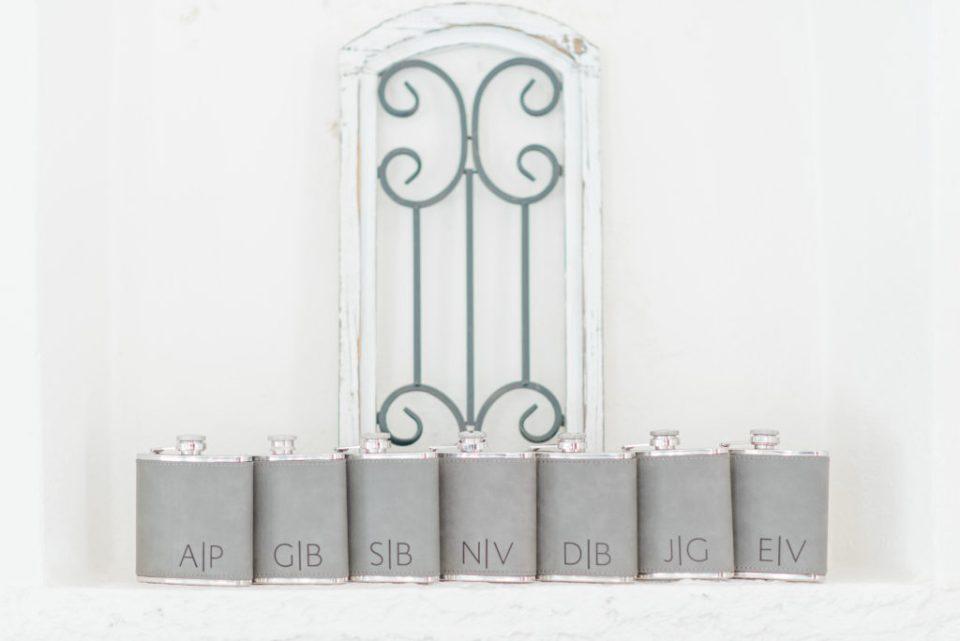 Groomsmen Flasks - Grey - Custom Initialled - Wedding Day Groomsmen Gifts.