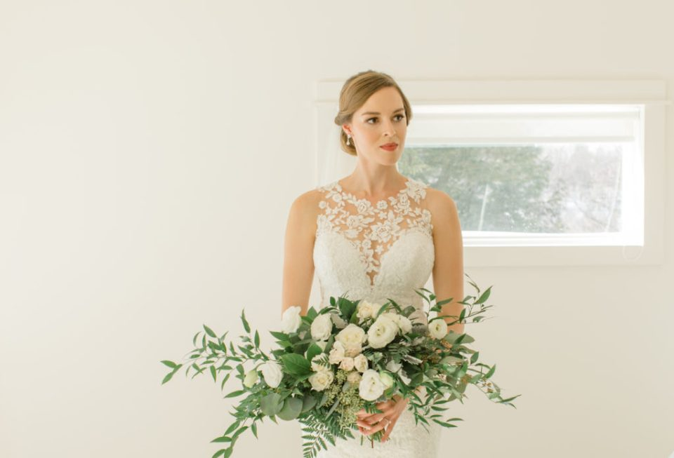 Large Wedding Bouquet - White with Greenery - Lace Wedding Dress - Eucalyptus Seeds - Spray Roses - Luscious Bouquet