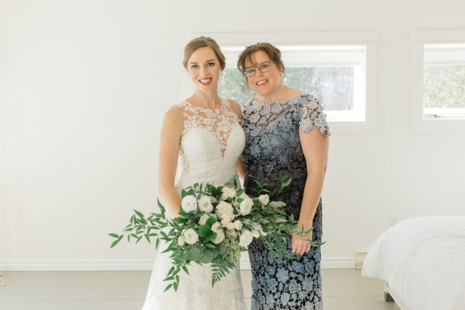 Bride with Mother Photos - Before She says I do  Large Wedding Bouquet - White with Greenery - Lace Wedding Dress - Eucalyptus Seeds - Spray Roses - Luscious Bouquet