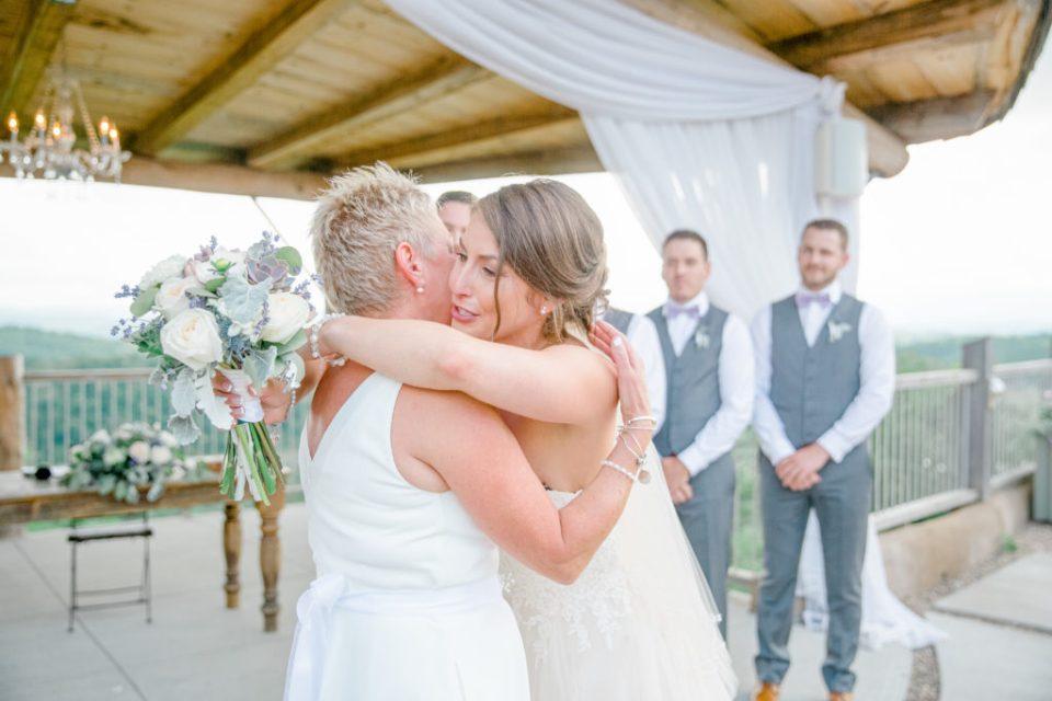 Final Hug from Bride and Mother - Lavender Rain Inspired Wedding - Le Belvedere- Grey Loft Studio- Ottawa Wedding Photographer - Affordable - Cheap - Fine Art - Best - Kanata Photographer - Wedding Videographer Ottawa - Light and Airy - Beautiful - Timeless - Organic Photographer Carp - Stittsville