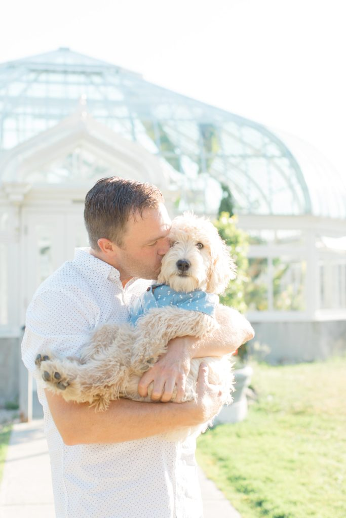Neutral Blue/White/Grey Engagement Session Outfit Inspiration - Guys- Cute Puppy with Button up Shirt - Grey Loft Studio - Ottawa Engagement Session - Tropical Gardens - -Wedding Photographer Ottawa - Wedding Photo Ottawa - Ottawa Wedding Videographer - Ottawa Wedding Photography & Videography - Ottawa Photo Studio