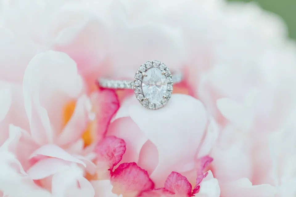 Ring Inspiration - Peony + Ring Shot to die for - Serious Inspiration - Neutral Blue/White/Grey Engagement Session Outfit Inspiration - Cute Puppy with Button up Shirt - Grey Loft Studio - OttawaWedding Photographer Ottawa - Wedding Photo Ottawa - Ottawa Wedding Videographer - Ottawa Wedding Photography & Videography - Ottawa Photo Studio