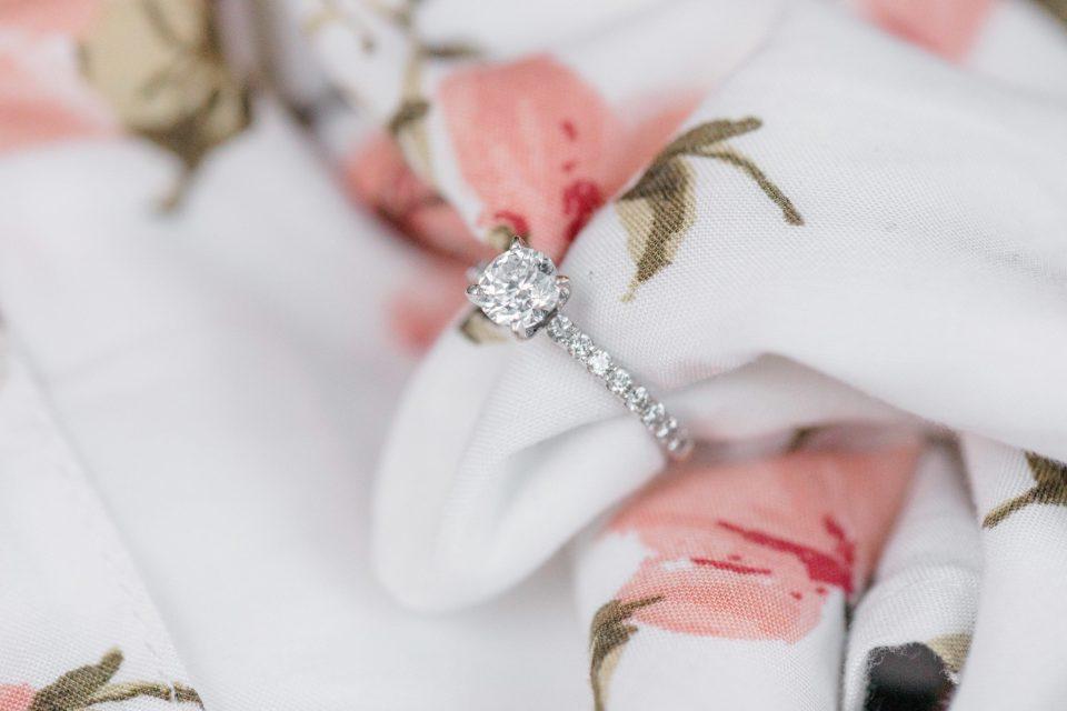 Beautiful Engagement Ring - Posed on Dress -  Grey Loft Studio