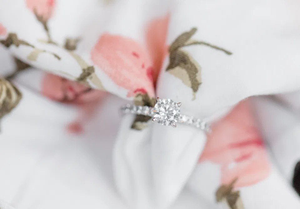 Beautiful Engagement Ring - Posed on Dress -  Grey Loft Studio