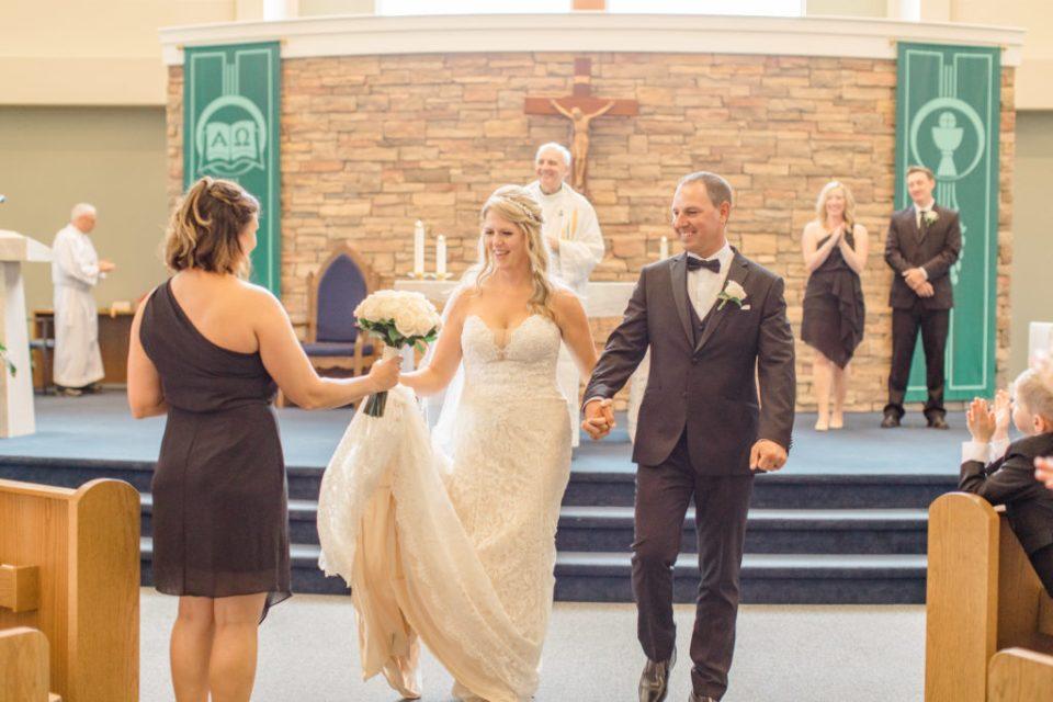 Holy Spirit Catholic Church Stittsville - Bride with Bridesmaids - Black and White Theme Wedding - Romantic Wedding at NeXt in Stittsville - Grey Loft Studio - Ottawa Wedding Photographer - Ottawa Wedding Photo & Video Team